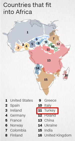 Afrika kıtasına sığan 16 ülke