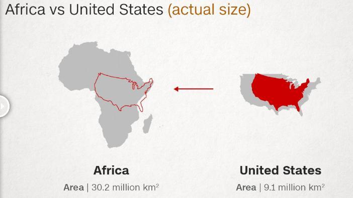 ABD Afrika harita karşılaştırması