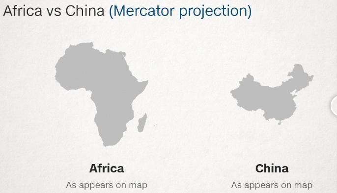 Afrika Çin Harita Karşılaştırması