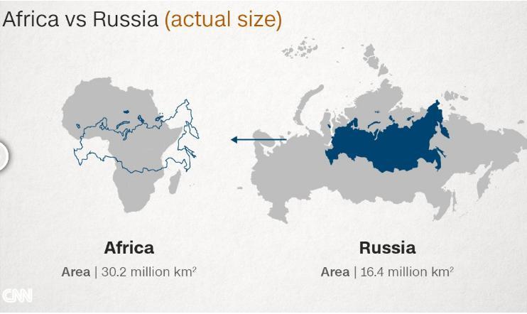 Afrika Kıtası Rusya Harita Karşılaştırması